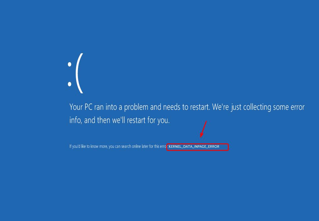 カーネルデータインページエラーブルースクリーン(修正済み)
