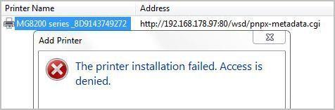 Printera draiveris netika instalēts: piekļuve ir liegta