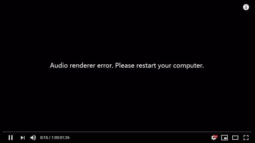 (Corrigido) Erro do renderizador de áudio do Youtube no Windows 10