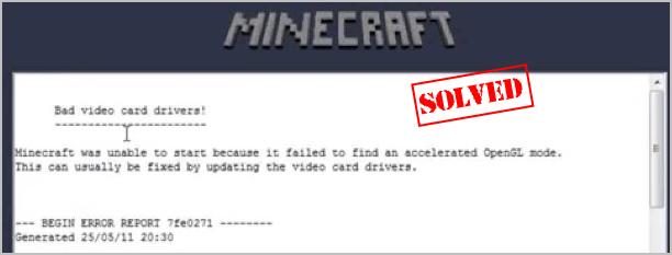Τρόπος διόρθωσης σφαλμάτων Minecraft OpenGL