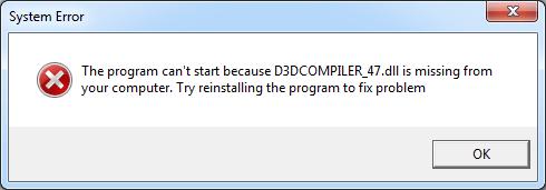 Trūkst D3DCOMPILER_47.dll (Fiksēts)