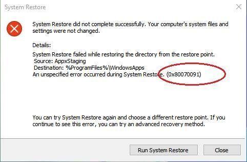 Erro de restauração do sistema 0x80070091 no Windows 10 (resolvido)