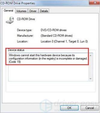 Labot Windows 10 DVD / CD-ROM kļūdu: Windows nevar palaist šo aparatūru, jo tās konfigurācijas informācija (reģistrā) ir nepilnīga vai bojāta. (19. kods)