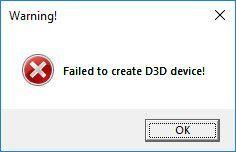 D3D-laitteen (SOLVED) luominen epäonnistui