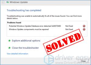 (Atrisināts) Iespējamā Windows atjaunināšanas datu bāzes kļūda sistēmā Windows 10