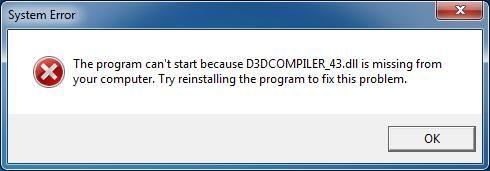 Korjaa D3DCOMPILER_43.dll puuttuu tai ei löydy -virhe