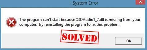 Como corrigir erros X3DAudio1_7.dll ausentes ou não encontrados facilmente