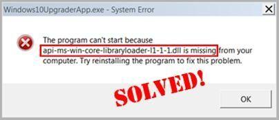 Jūsu datorā trūkst [atrisināts] api-ms-win-core-libraryloader-l1-1-1.dll.