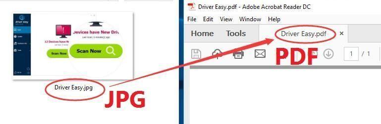 Konvertieren Sie JPG in PDF in Fenster 10