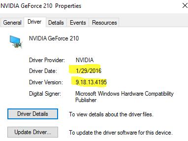 NVIDIA GeForce 210 draiveru atjauninājums operētājsistēmai Windows 10