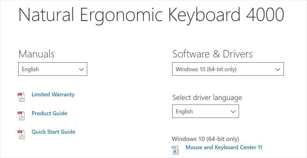 ダウンロード| Microsoftエルゴノミクスキーボード4000ドライバー|簡単かつ迅速に
