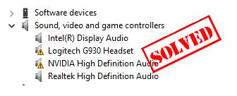 Windows में फिक्स्ड लॉजिटेक हेडसेट G930 ड्राइवर इशू