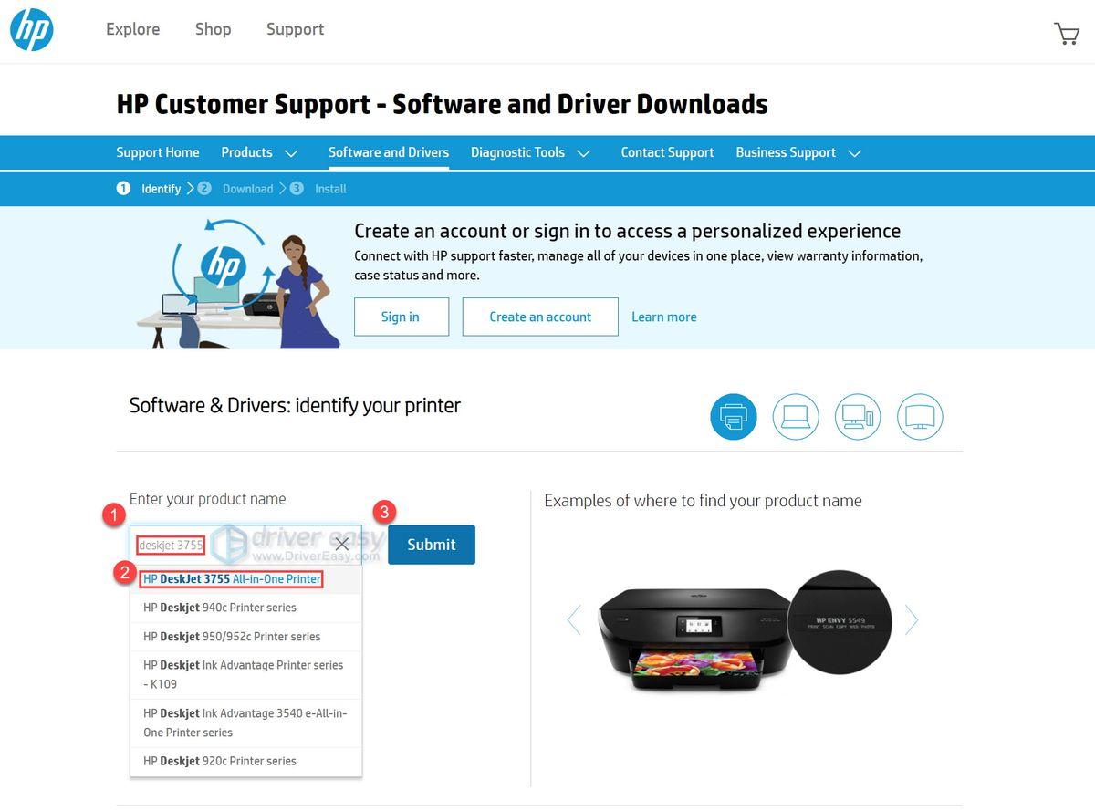 Jaunākā HP DeskJet 3755 All-in-One printera draivera lejupielāde operētājsistēmām Windows 10, 8, 7