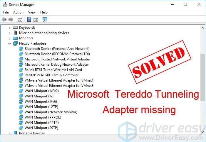 (हल) Microsoft टेरेडो टनलिंग एडाप्टर गायब है