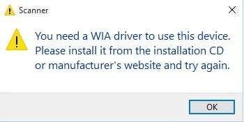 """(RISINĀTS) """"Lai lietotu šo ierīci, jums ir nepieciešams WIA draiveris"""" Skenera draivera kļūda"""