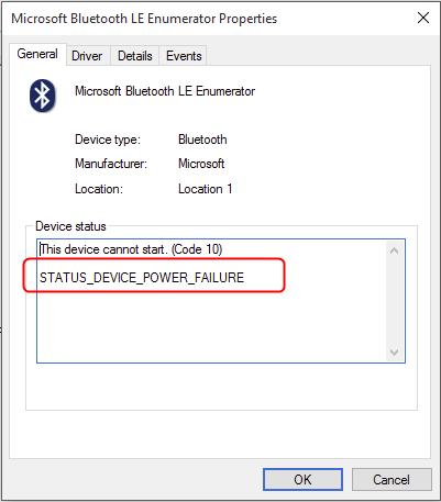 Τρόπος διόρθωσης σφάλματος Status_Device_Power_Failure Bluetooth στα Windows 10