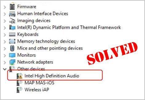 (Résolu) Problèmes de pilote audio haute définition Intel sous Windows 10
