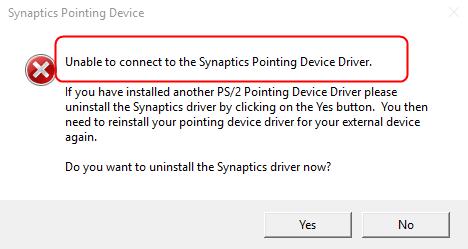 (हल) सिंटैप्टिक्स पॉइंटिंग डिवाइस ड्राइवर से कनेक्ट करने में असमर्थ