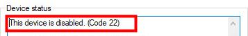 (Fixe) Cet appareil est désactivé. (Code 22)