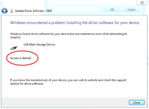 USB ठीक करें समस्या निवारण स्थापित नहीं कर रहा है: प्रवेश निषेध है