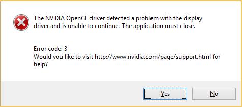(حل شدہ) NVIDIA اوپن جی ایل ڈرائیور کی خرابی کا کوڈ 3