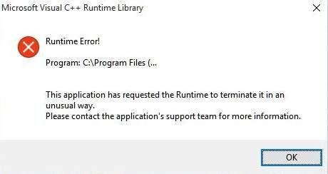 Atrisināts: Microsoft Visual C ++ izpildlaika bibliotēkas kļūda operētājsistēmā Windows 10