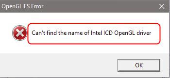 (Atrisināts) Nevar atrast Intel ICD OpenGL draivera nosaukumu