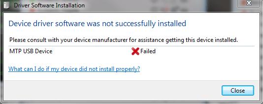 Einfach zu behebender MTP-USB-Gerätetreiber Fehler aufgetreten