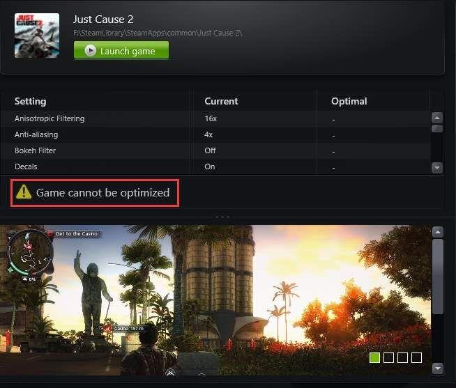 GeForce अनुभव खेल अनुकूलित नहीं किया जा सकता (हल)