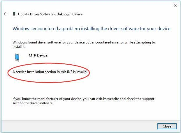 Pakalpojuma instalēšanas sadaļa šajā INF nav derīga (SOLVED)