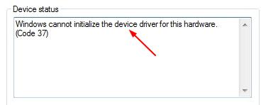 (सॉल्व्ड) कोड 37: विंडोज इस हार्डवेयर के लिए डिवाइस ड्राइवर को इनिशियलाइज़ नहीं कर सकता है