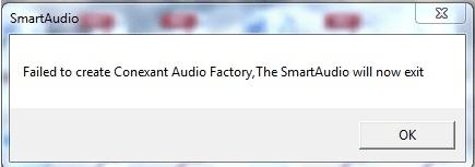 (Ratkaistu) ongelma: 'Conexant Audio Factoryn luominen epäonnistui, SmartAudio poistuu nyt'
