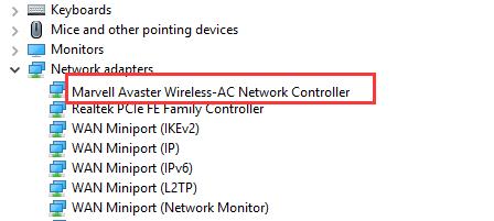 सतह पर Marvell Avastar Wireless-AC Network नियंत्रक ड्राइवर स्थापित करें