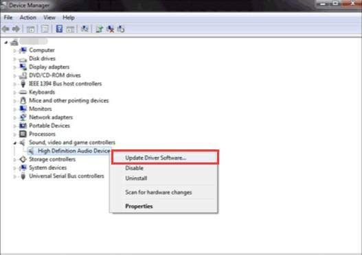 Windows7でのNVIDIAHigh Definition Audio Drivers Update