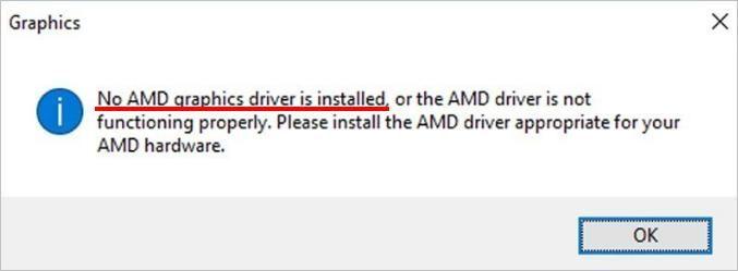 Napaka popravka: Gonilnik AMD Graphics ni nameščen