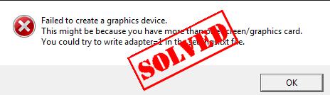 Windows에서 그래픽 장치를 생성하지 못함 (수정 됨)