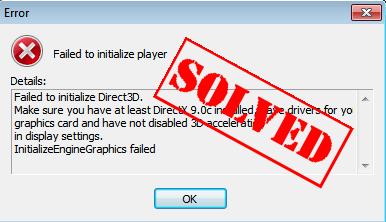 Falha ao inicializar Direct3D (corrigido)