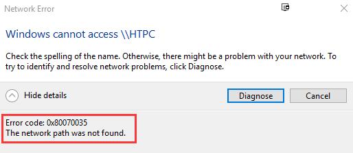 Kļūdas kods: 0x80070035. Tīkla ceļš netika atrasts. (Atrisināts)
