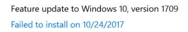 Falha ao instalar a atualização do recurso para o Windows 10 versão 1709