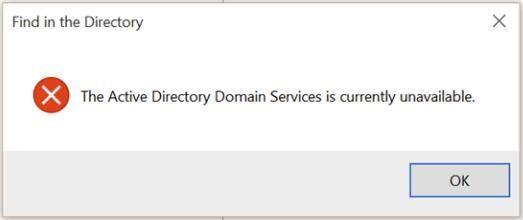 Corrigido: os Serviços de Domínio Active Directory não estão disponíveis no momento. Erro de impressora