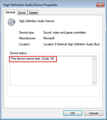 निश्चित यह उपकरण प्रारंभ नहीं हो सकता। (कोड 10) - उच्च परिभाषा ऑडियो डिवाइस