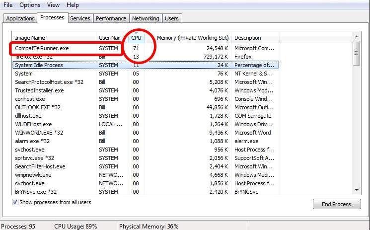 CompatTelRunner.exe augsta diska izmantošana operētājsistēmās Windows 10 un 7 (atrisināta)