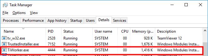 Corregir el uso elevado de disco de TiWorker.exe en Windows 10