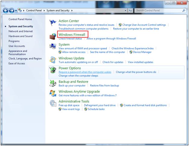 Kako odpreti vrata v požarnem zidu sistema Windows v sistemu Windows 7