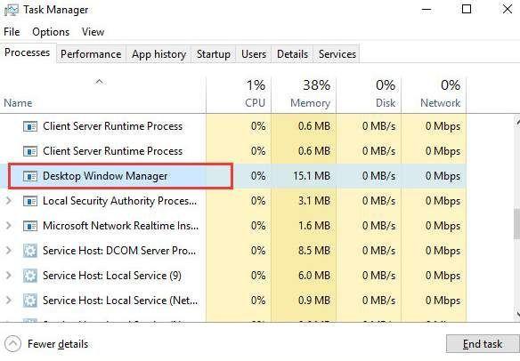dwm.exe darbvirsmas logu pārvaldnieka augsts procesors operētājsistēmā Windows 10 (atrisināts)