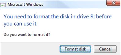 エラーの修正:使用する前に、ドライブ内のディスクをフォーマットする必要があります