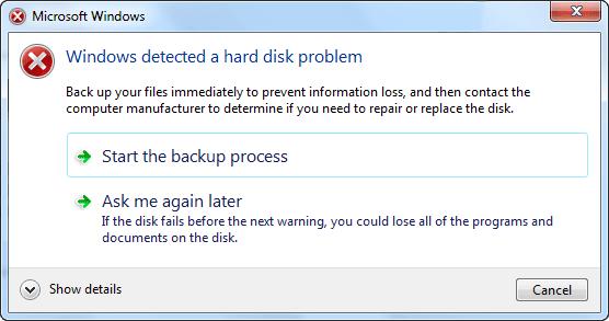 (解決済み)「Windowsがハードディスクの問題を検出した」を修正する方法