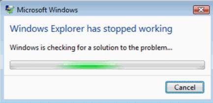 O Windows Explorer parou de funcionar no Windows 7 (resolvido)