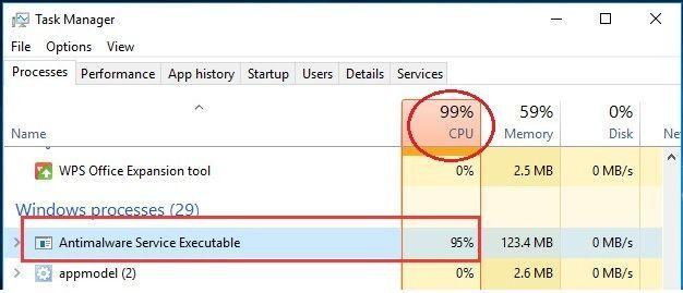 修正済み:Windows10の「AntimalwareServiceExecutable」高CPU