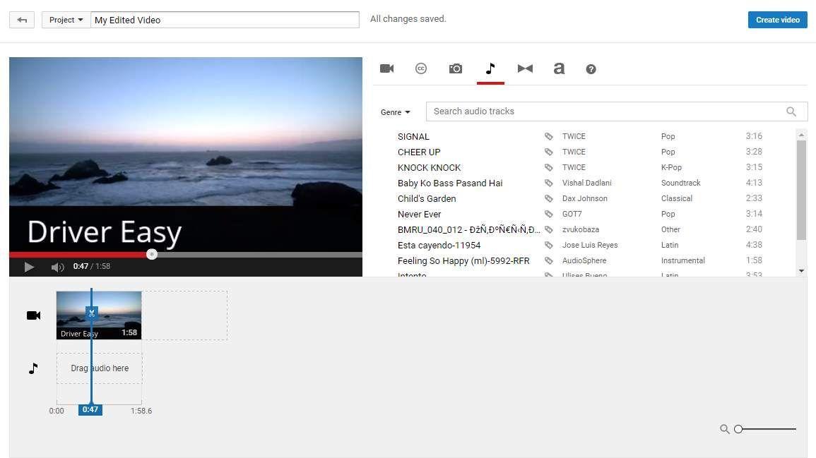 YouTube Video Editor: Wie ändere ich die Audiospur?